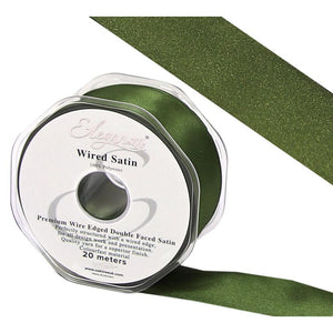 Eleganza 38mm Premium Double Faced Satin Wired Ribbon 20m Roll - Basil-The Creative Bride