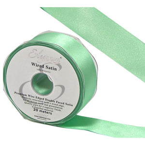 Eleganza 38mm Premium Double Faced Satin Wired Ribbon 20m Roll - Mint Green-The Creative Bride