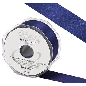 Eleganza 38mm Premium Double Faced Satin Wired Ribbon 20m Roll - Navy Blue-The Creative Bride