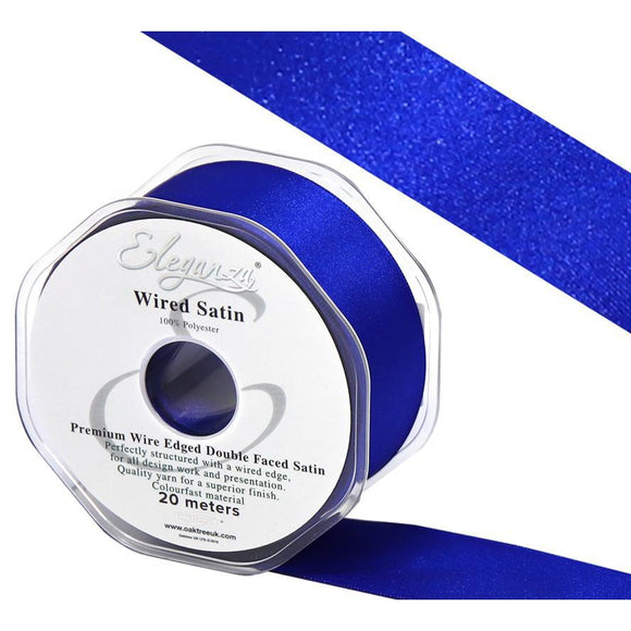 Eleganza 38mm Premium Double Faced Satin Wired Ribbon 20m Roll - Royal Blue-The Creative Bride