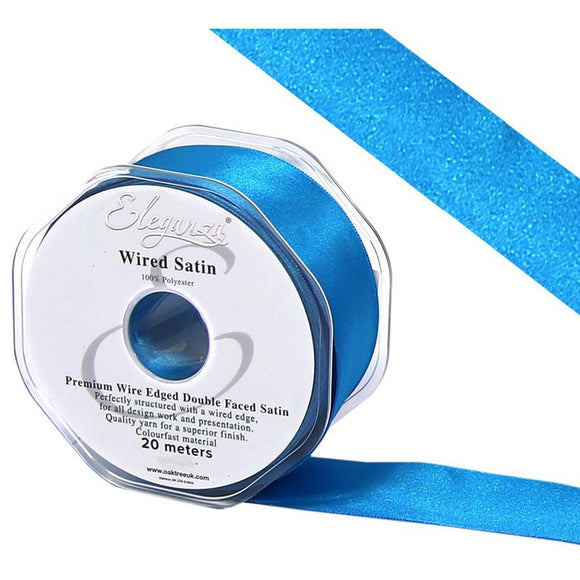 Eleganza 38mm Premium Double Faced Satin Wired Ribbon 20m Roll - Turquoise-The Creative Bride