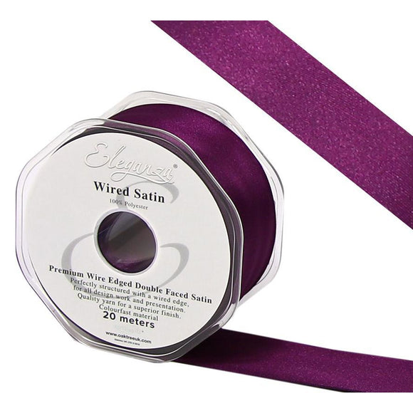 Eleganza 38mm Premium Double Faced Satin Wired Ribbon 20m Roll - Plum-The Creative Bride