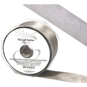 Eleganza 50mm Premium Double Faced Satin Wired Ribbon 20m Roll - Silver-The Creative Bride
