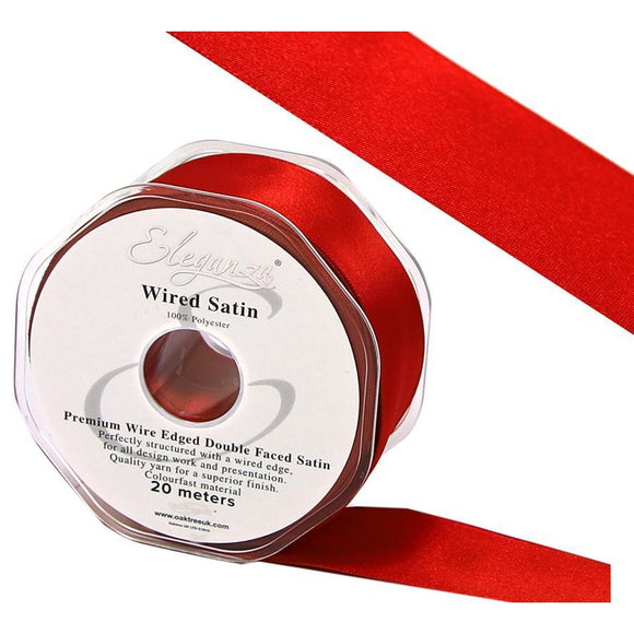 Eleganza 50mm Premium Double Faced Satin Wired Ribbon 20m Roll - Red-The Creative Bride