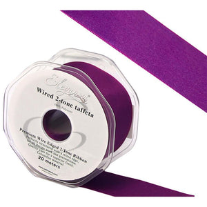 Eleganza 25mm Premium Taffeta Wired Ribbon 20m Roll - Electric Purple-The Creative Bride