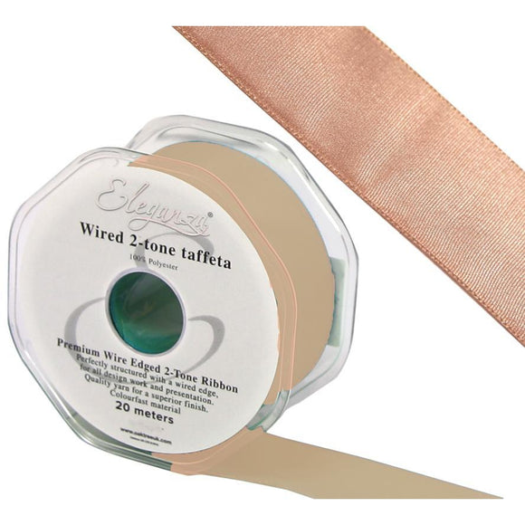 Eleganza 25mm Premium Taffeta Wired Ribbon 20m Roll - Rose Gold-The Creative Bride