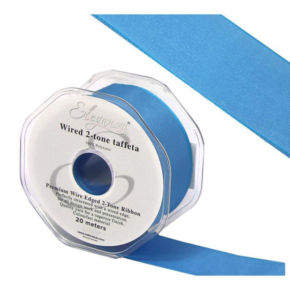 Eleganza 38mm Premium Taffeta Wired Ribbon 20m Roll - Ice Blue-The Creative Bride