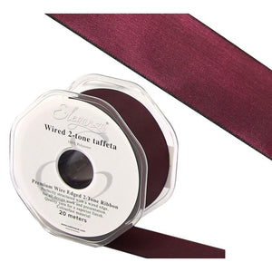 Eleganza 38mm Premium Taffeta Wired Ribbon 20m Roll - Wine-The Creative Bride
