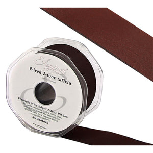 Eleganza 38mm Premium Taffeta Wired Ribbon 20m Roll - Claret-The Creative Bride