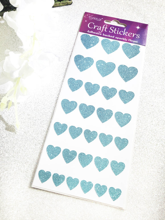 Eleganza Glitter Heart Craft Stickers - Blue