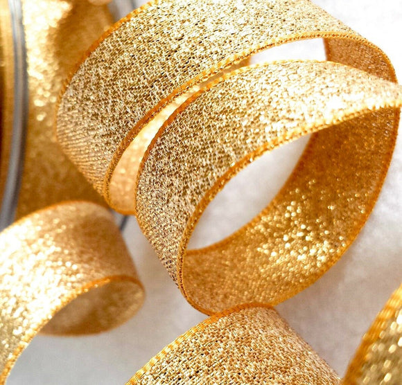 Berisfords Dark Gold Sparkly Lame Metallic Glitter Ribbon 7, 15, 25, 40mm