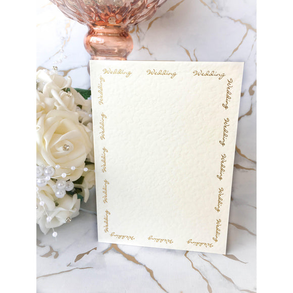 A6 Card Blanks Ivory Hammer Effect With Gold Foil Wedding Script 10pk - Clearance-The Creative Bride