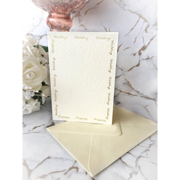 A6 Card Blanks Ivory Hammer Effect With Gold Foil Wedding Script 10pk With Envelopes - Clearance-The Creative Bride