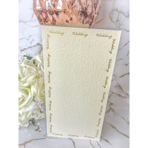 Tall DL Card Blanks Ivory Hammer Effect With Gold Foil Wedding Script 10pk - Clearance-The Creative Bride