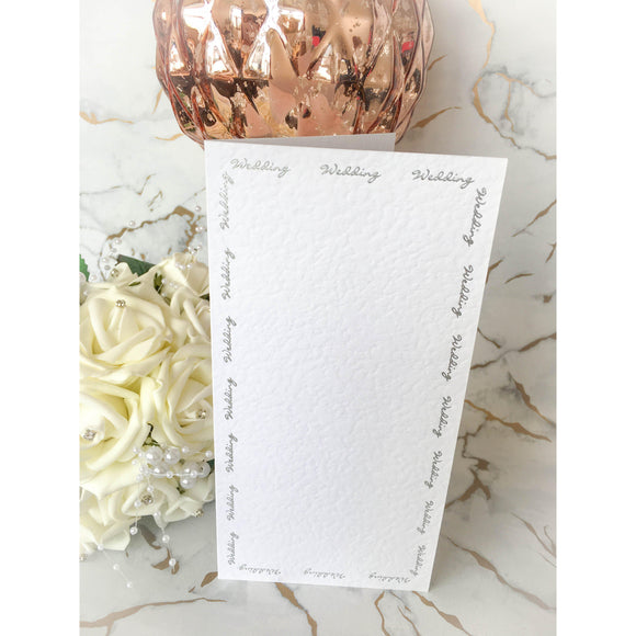 Tall DL Card Blanks White Hammer Effect With Silver Foil Wedding Script 10pk - Clearance-The Creative Bride