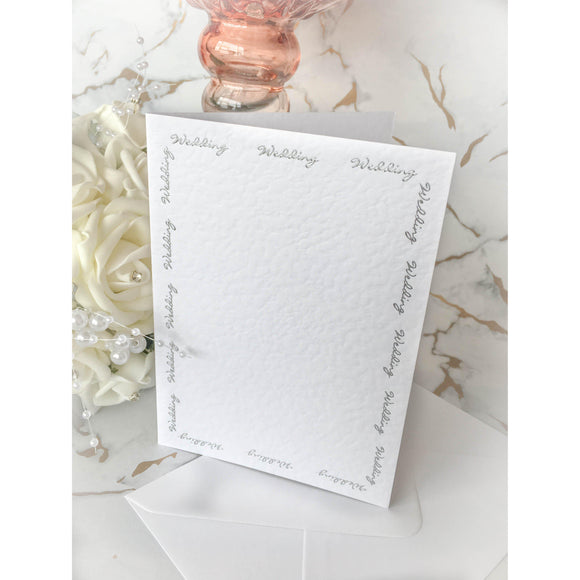 A6 Card Blanks White Hammer Effect With Silver Foil Wedding Script 10pk - Clearance-The Creative Bride