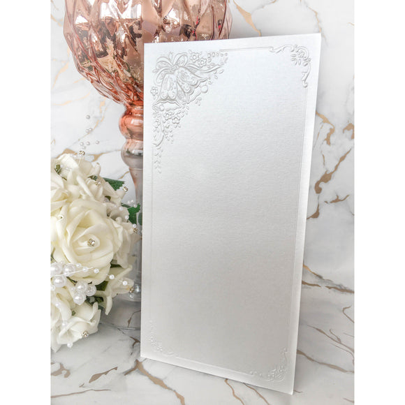 Tall DL Card Blanks White Pearl With Wedding Bells 10pk With Envelopes - Clearance-The Creative Bride