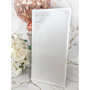 Tall DL Card Blanks White Pearl With Wedding Bells 10pk - Clearance-The Creative Bride
