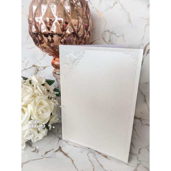 A5 Card Blanks White Pearl With Wedding Bells 10pk Pre-folded - Clearance-The Creative Bride