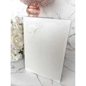 A6 Card Blanks White Pearl With Wedding Bells 10pk - Clearance-The Creative Bride