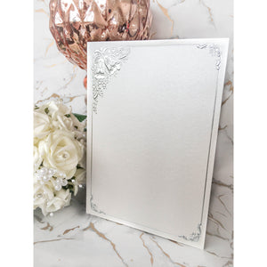 A5 Card Blanks White Pearl With Silver Wedding Bells 10pk Pre-folded - Clearance-The Creative Bride