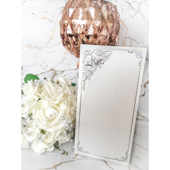 Tall DL Card Blanks White Pearl With Silver Wedding Bells 10pk - Clearance-The Creative Bride