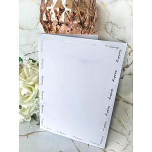 A5 Card Blanks Smooth White With Silver Foil Wedding Script 10pk - Clearance-The Creative Bride