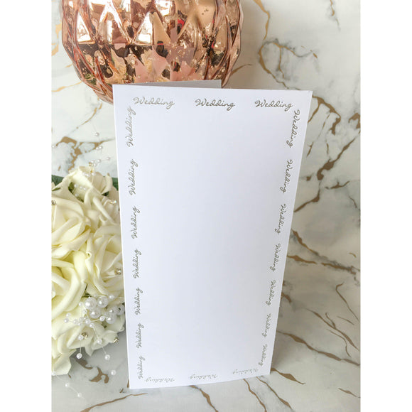 Tall DL Card Blanks Smooth White With Silver Foil Wedding Script 10pk - Clearance-The Creative Bride