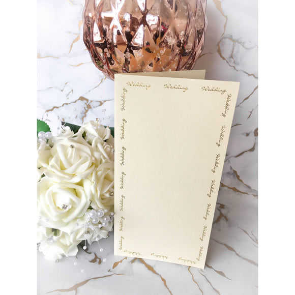 Tall DL Card Blanks Smooth Ivory With Gold Foil Wedding Script 10pk - Clearance-The Creative Bride