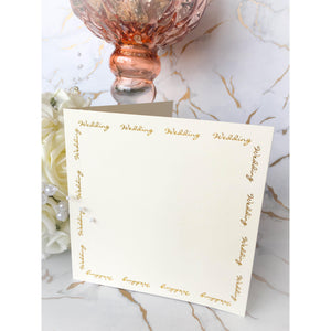 "5"" x 5"" Square Card Blanks Ivory With Gold Wedding Script 10pk - Clearance-The Creative Bride"