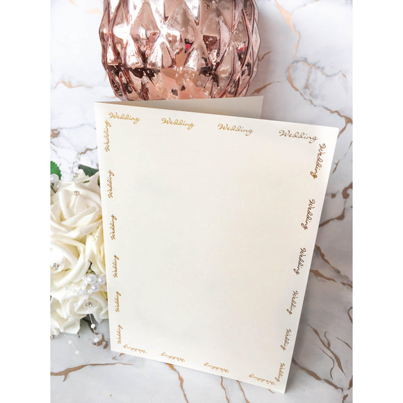 A5 Card Blanks Smooth Ivory With Gold Foil Wedding Script 10pk - Clearance-The Creative Bride