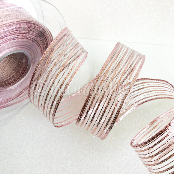 Berisfords Rose Gold Metallic Sparkly Wired Ribbon 1M Cut Piece