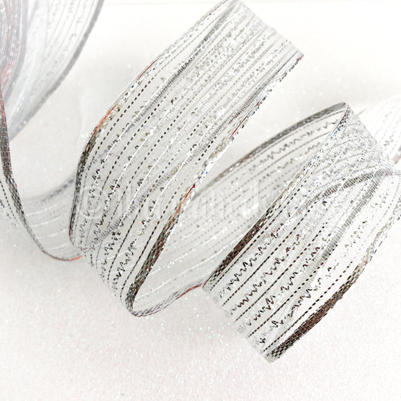 Berisfords Silver Metallic Sparkly Wired Ribbon 1M Cut Piece