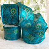 Eleganza 63mm Wide Wired Edge Metallic Peacock Ribbon 1m