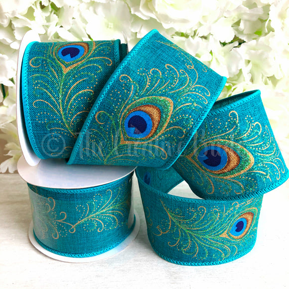 Eleganza 63mm Wide Wired Edge Hessian Teal Peacock Ribbon 1m