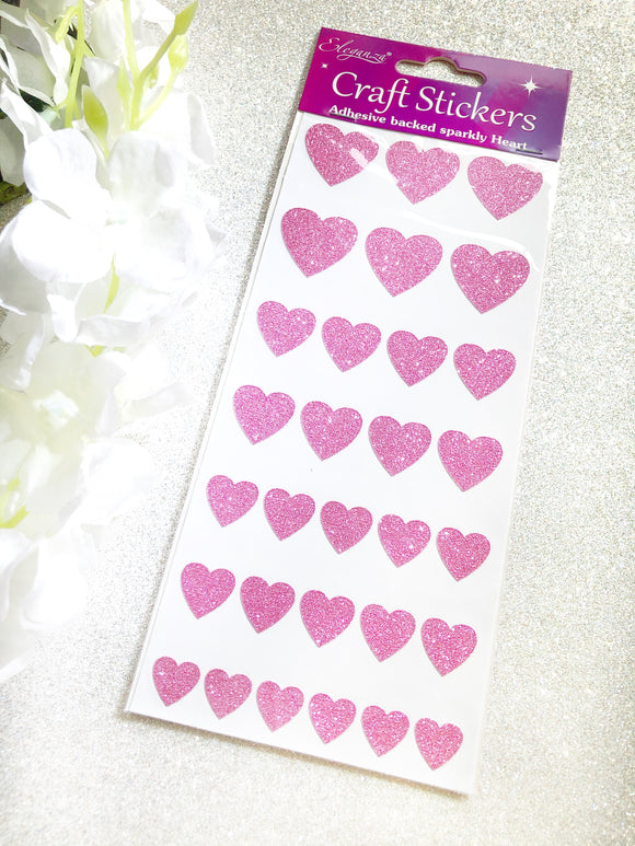 Eleganza Glitter Heart Craft Stickers - Pink