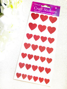 Eleganza Glitter Heart Craft Stickers - Red