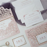 Blush Pink Laser Cut Elegant Wedding Invitation Kit