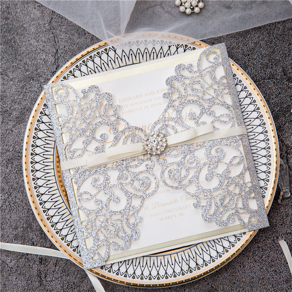 Silver Glitter Laser Cut Floral Wedding Invitation Kit