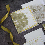 Gold Glitter Laser Cut Lace Pocket Symmetrical Wedding Invitation Kit