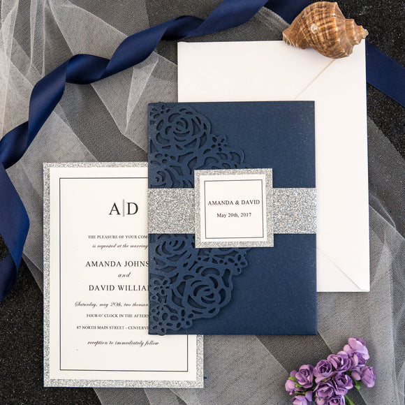 Navy Laser Cut Tri-Fold Rose Design Wedding Invitation Kit