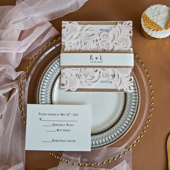 Blush Pink & Rose Gold Laser Cut Elegant Wedding Invitation Kit