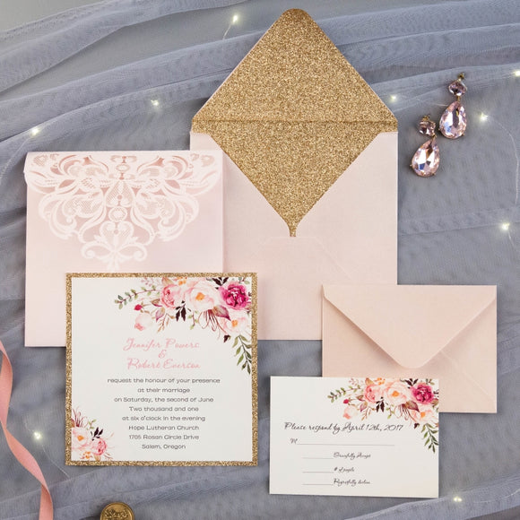 Blush Pink & Rose Gold Laser Cut Square Tri-fold Pocket Wedding Invitation Kit