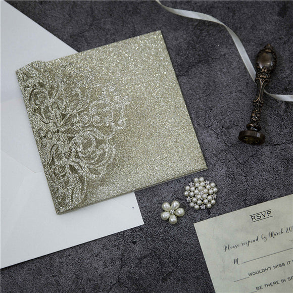 Champagne Gold Glitter Laser Cut Square Tri-fold Pocket Wedding Invitation Kit