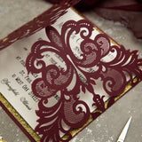 Burgundy & Gold Laser Cut Elegant Wedding Invitation Kit