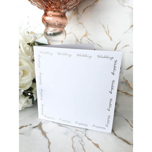 "5"" x 5"" Square Card Blanks White With Silver Wedding Script 10pk - Clearance-The Creative Bride"