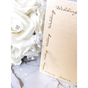 "5"" x 5"" Square Card Blanks Ivory Pearl With Gold Wedding Script 10pk - Clearance-The Creative Bride"