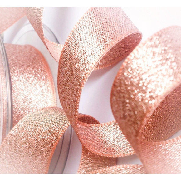 Berisfords Rose Gold Copper Sparkly Lame Metallic Glitter Ribbon 7, 15, 25, 40mm-The Creative Bride