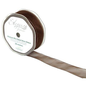 Eleganza 32mm Finesse Wired Ribbon 20m Roll - Chocolate-The Creative Bride