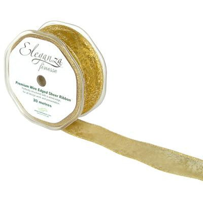 Eleganza 32mm Finesse Wired Ribbon 20m Roll - Gold Bullion-The Creative Bride